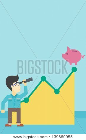 An asian  young businessman looking through spyglass at a piggy bank standing at the top of growth graph. Vector flat design illustration. Vertical layout.