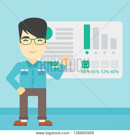 An asian businessman pointing at charts on a board during business presentation. Man giving business presentation. Business presentation in progress. Vector flat design illustration. Square layout.