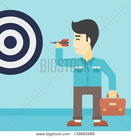 An asian young businessman with briefcase aiming at a target board. Concept of achieving of business goals. Vector flat design illustration. Square layout.