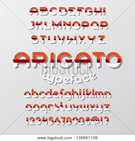 Arigato color typeface. Round font set. Vector alphabet