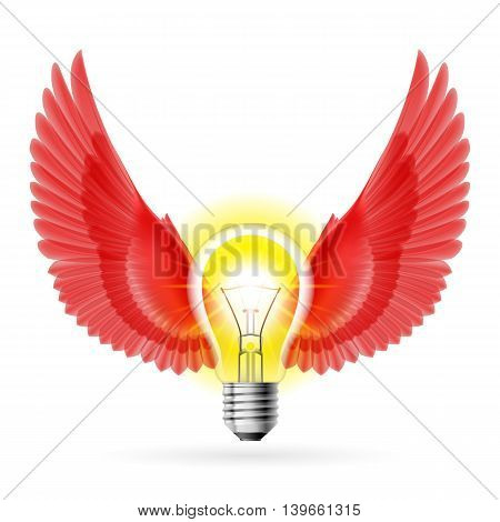 Light bulb with red wings. Idea and inspiration symbol