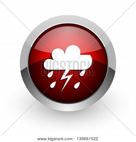 Weather Forecast Red Circle Web Glossy Icon