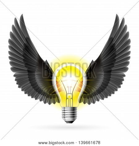 Light bulb with black wings. Idea and inspiration concept