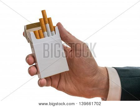 Man Is Holding White Cigarette Pack In Hand. Isolated On White B