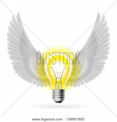 Light bulb with white wings. Idea and inspiration concept