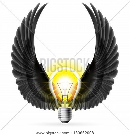 Light bulb with raised up black wings. Idea and inspiration concept