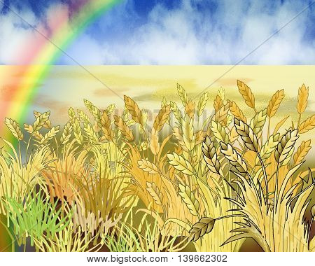 Rainbow Over Wheat Field in Summer Day. Cartoon Style Character Fairy Tale Story Background.