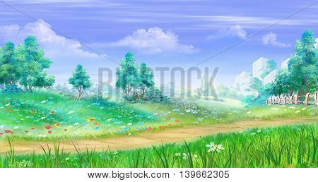 Rural landscape with flowers and grass around a path. Cartoon Style Artwork Scene Story Background.