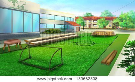School sports ground and football stadium. Cartoon Style Artwork Scene Story Background.
