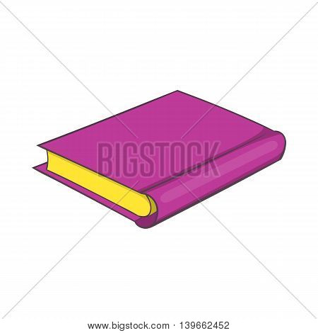 Pink book icon in cartoon style isolated on white background. Reading symbol