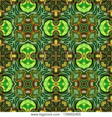 Abstract decorative multicolor (green, orange) texture - kaleidoscope pattern