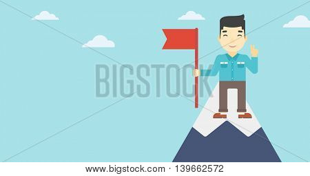 An asian  young happy businessman holding a red flag on the top of the mountain. Successful business concept. Vector flat design illustration. Horizontal layout.