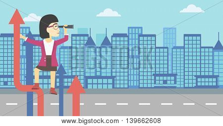 An asian young business woman standing on the top of arrow and looking through spyglass on the background of modern city. Vector flat design illustration. Horizontal layout.