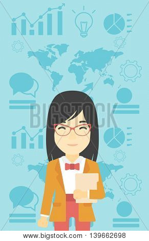 An asian young business woman holding a file in hand while standing with growing chart and a map on a background. Vector flat design illustration. Vertical layout.