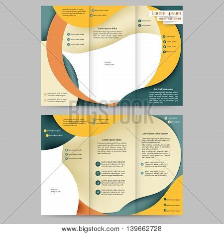 Color tri fold business brochure design template with abstract lines and waves for your business