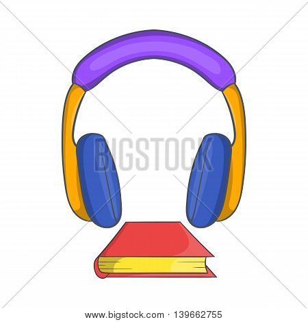 Audio book icon in cartoon style isolated on white background. Reading and listen symbol