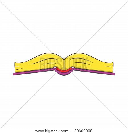Book is open in the middle icon in cartoon style isolated on white background. Reading symbol