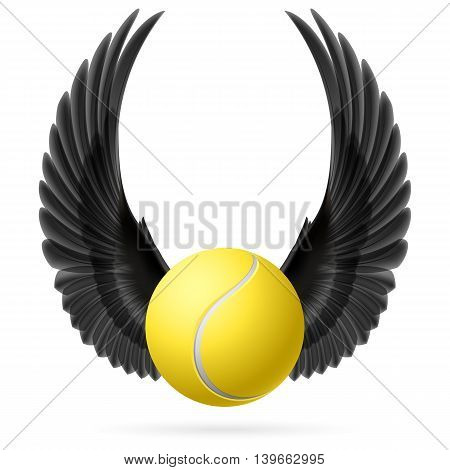 Realistic tennis ball with raised up black wings emblem