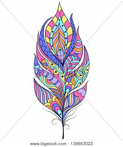 Vector illustration of abstract feather on white background