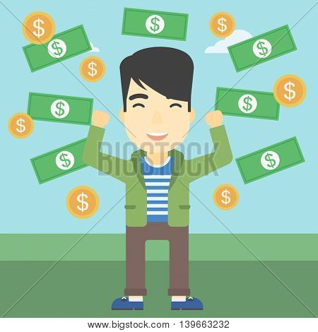 An asian  young businessman with raised hands standing under money rain. Successful business concept. Vector flat design illustration. Square layout.