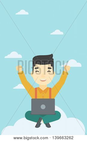 An asian  happy man with raised hands sitting on a cloud with a laptop. Vector flat design illustration. Vertical layout.
