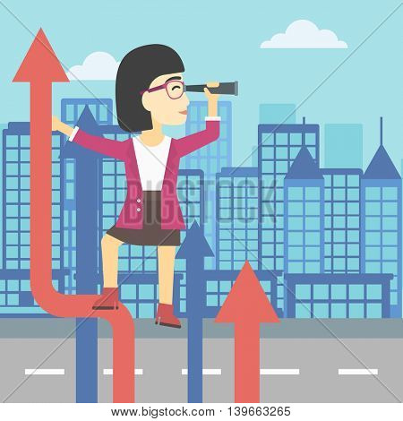 An asian young business woman standing on the top of arrow and looking through spyglass on the background of modern city. Vector flat design illustration. Square layout.