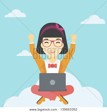 An asian  happy woman with raised hands sitting on a cloud with a laptop. Vector flat design illustration. Square layout.