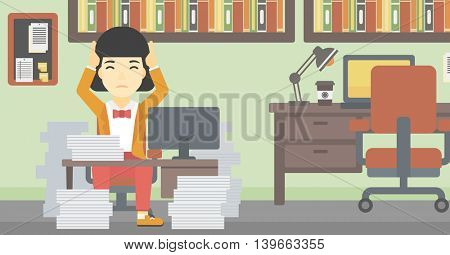 An asian young business woman in despair sitting at workplace with heaps of papers and clutching her head. Vector flat design illustration. Horizontal layout.