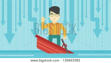 An asian  scared businessman standing in a sinking boat and asking for help. Concept of business bankruptcy. Vector flat design illustration. Horizontal layout.
