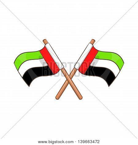 UAE flag icon in cartoon style isolated on white background. State symbol