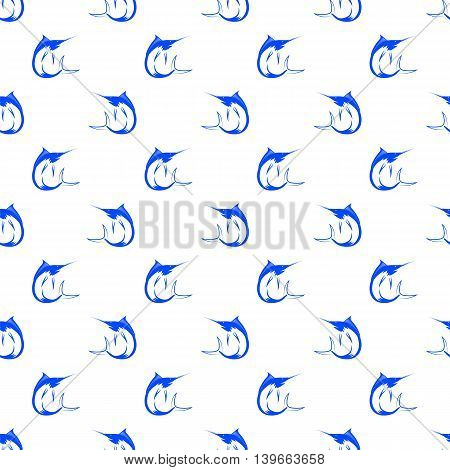 Set of Fish Isolated on White Background. Marlin Seamless Pattern