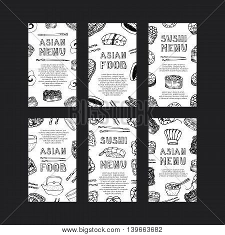 Hand drawn asian food cards. Menu cards. Sushi menu. Invitation. Asian menu doodle set. Asian food flyer. Asian food template menu design. Vector illustration.