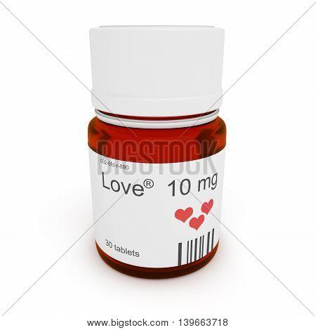 Pill bottle: Love 10 mg 3d illustration