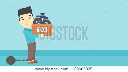 Chained to a large ball an asian businessman carrying heavy box with bags full of taxes. Vector flat design illustration. Horizontal layout.