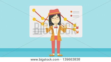Stressed young asian business woman standing on the background of a board with decreasing chart. Concept of business bankruptcy. Vector flat design illustration. Horizontal layout.