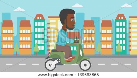 An african-american young man riding a scooter on a city background. Young man driving a scooter in the street. Vector flat design illustration. Horizontal  layout..
