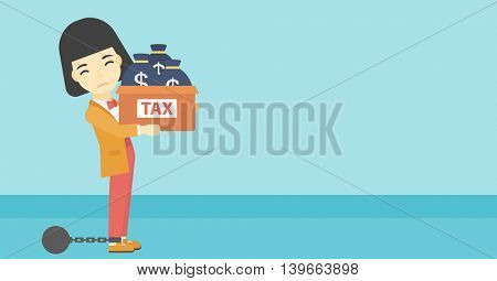 Chained to a large ball an asian business woman carrying heavy box with bags full of taxes. Vector flat design illustration. Horizontal layout.