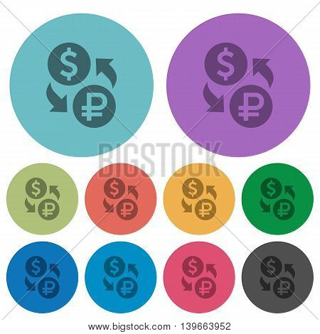 Color Dolar Ruble exchange flat icon set on round background.