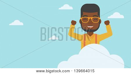 An african-american happy man with raised hands sitting on a cloud on the background of blue sky. Cloud computing concept. Vector flat design illustration. Horizontal layout.