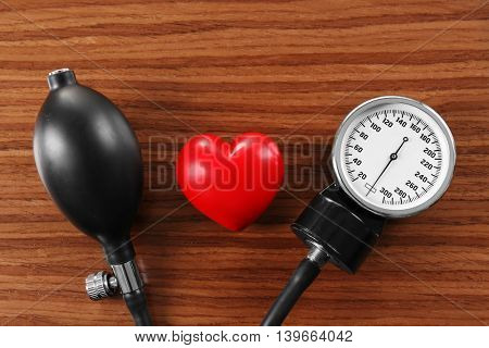 Tonometer with red heart, closeup