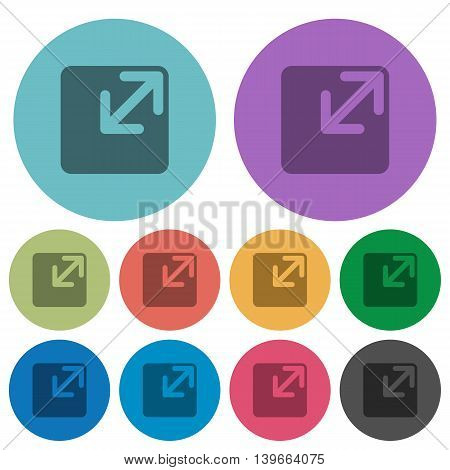 Color resize window flat icon set on round background.