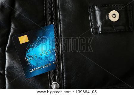 Credit card in purse, closeup