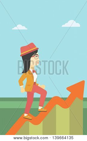 An asian cheerful business woman running along the growth graph. Happy business woman going up. Woman moving up. Successful business concept. Vector flat design illustration. Vertical layout.