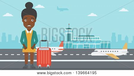 An african-american woman frightened by future flight. Woman standing at airport and suffering from fear of flying. Phobia, fear of flying concept. Vector flat design illustration. Horizontal  layout.