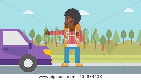 An african-american young man with backpack hitchhiking on roadside. Hitchhiking man with the beard trying to stop a car on the road. Vector flat design illustration. Horizontal  layout.