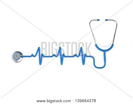 3D Illustration Stethoscope with Heart Beat on white background.