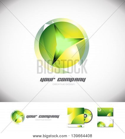 Vector company logo icon element template green sphere 3d design games media corporate glow glowing