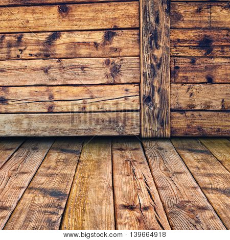 Wooden 3d room interior for product placement weathered floor and wall od wood planks