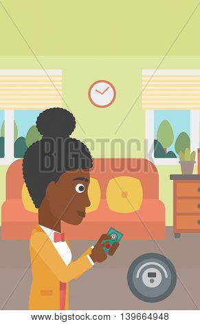An african-american woman controlling robot vacuum cleaner with smartphone. Woman holding remote control of robotic vacuum cleaner in living room. Vector flat design illustration. Vertical layout.