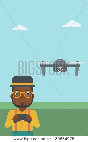 An african-american man flying drone with remote control. Man operating a drone with remote control. Man controling a drone. Vector flat design illustration. Vertical layout.